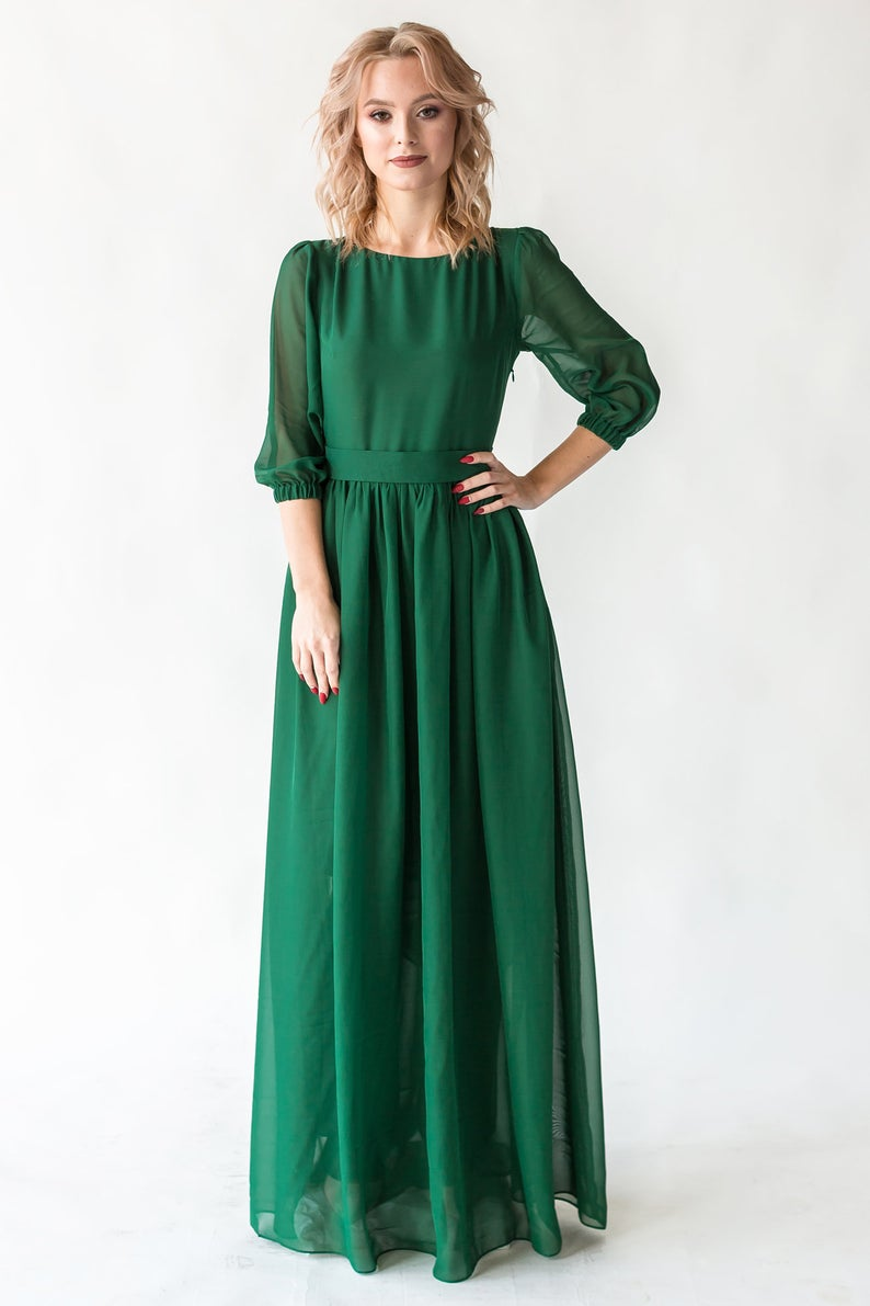 Emerald Maxi Dress With Pearl Buttons And Sleeves / Women ...