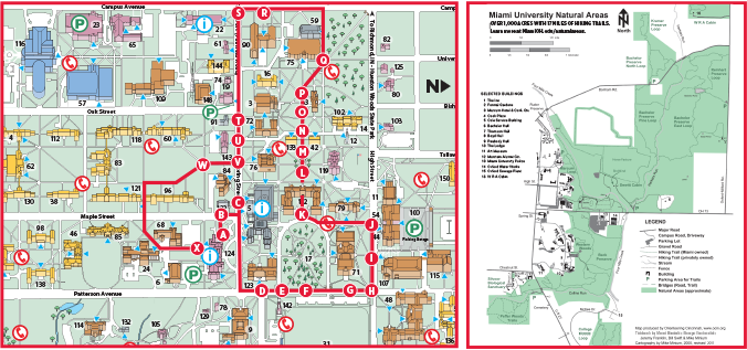 u miami campus map A Map Of The Oxford Campus Walking Tour Campus Map University u miami campus map