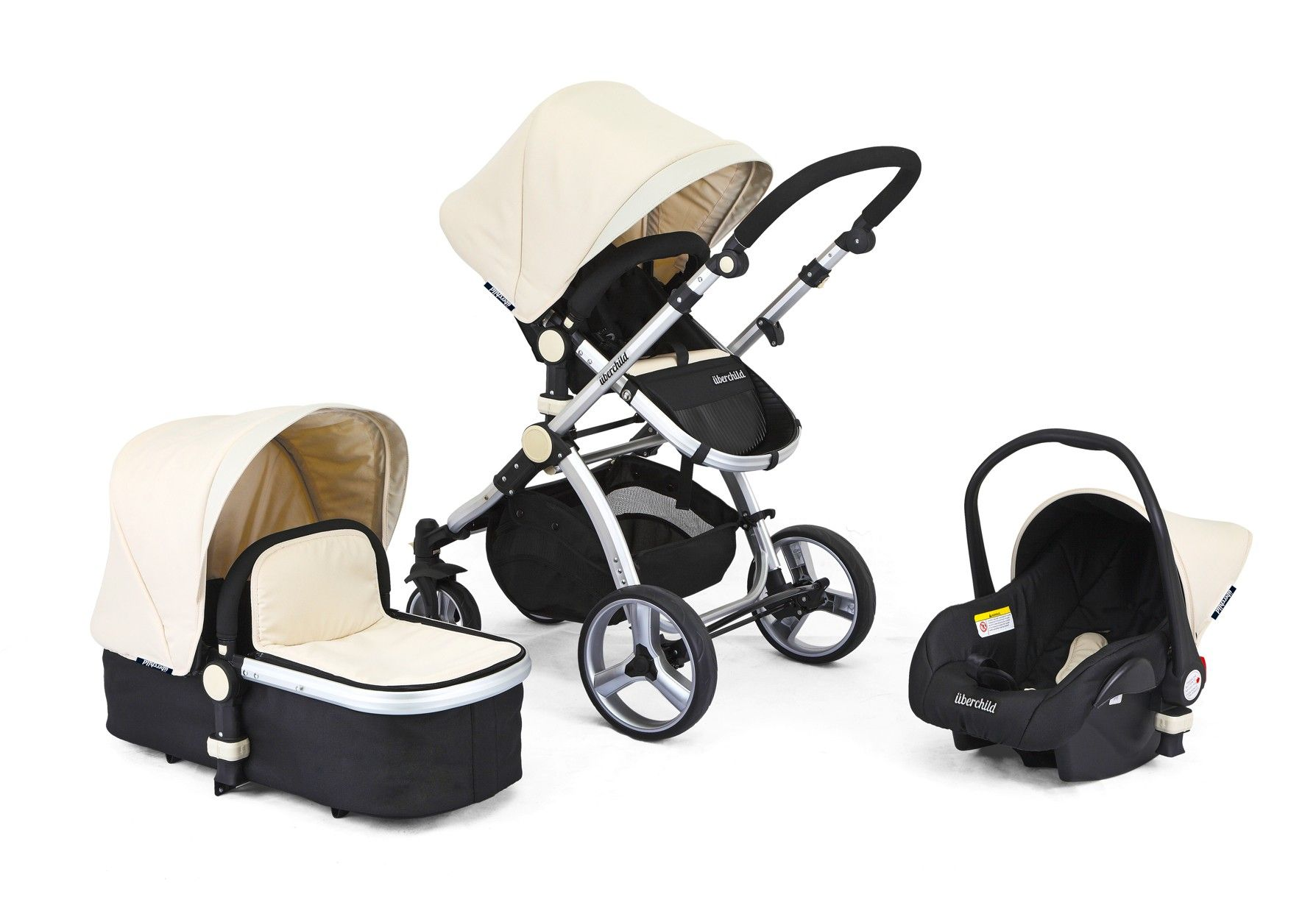 Uberchild EVO 3 in 1 Travel System Pram Black and