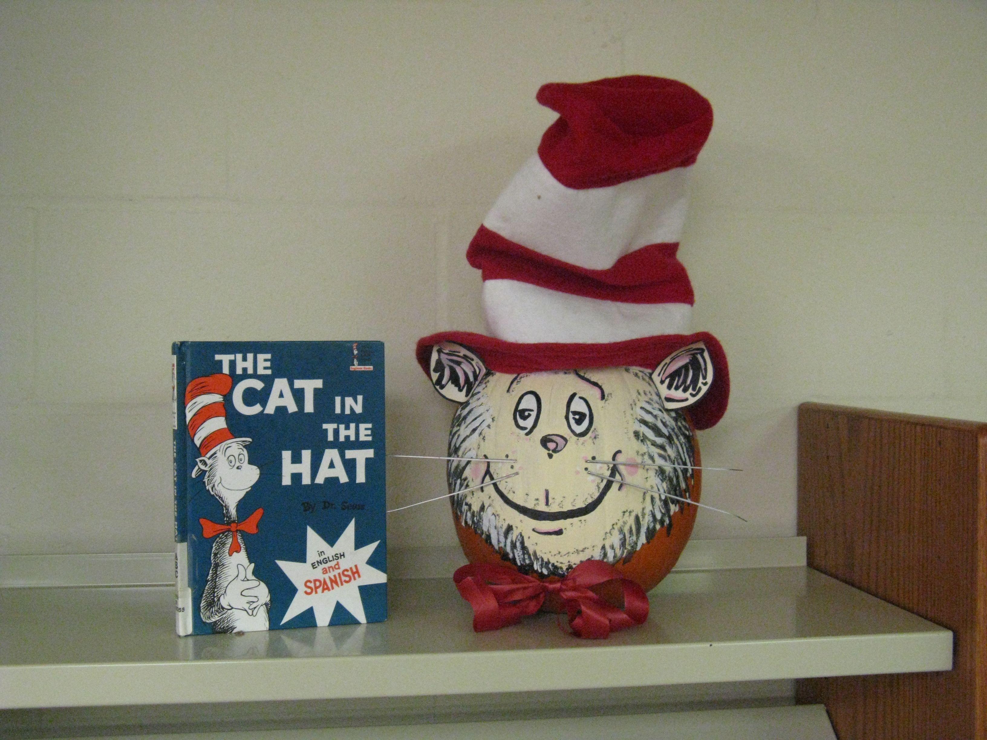 Cat in the Hat Book Character Pumpkin (Pumpkin Painting