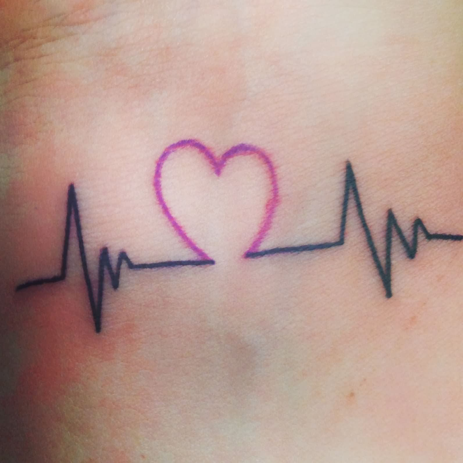 Heartbeat And Heart Love Tattoo Heartbeat Tattoo Word Tattoos Small Wrist Tattoos