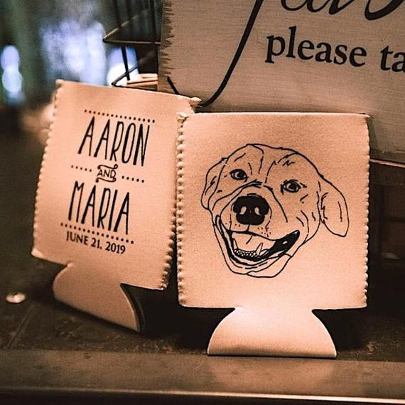 Wedding Can Coolers Personalized Can Coolers Couples Shower Favors for Guests Custom Dog Illustration Wedding Favors