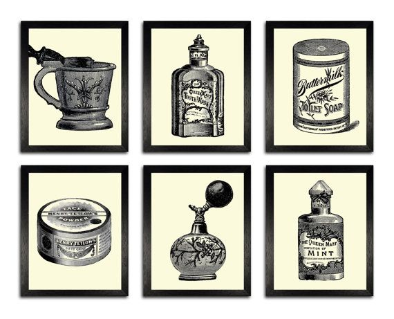 Bathroom Set 6 Prints Vintage Bathroom Items By Theprintcave Vintage Stampe D Arte Bagni Vintage