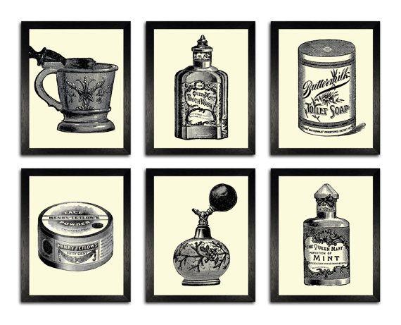 BATHROOM SET 6 Prints, Vintage Bathroom Items Illustration Art Prints, Bathroom  Wall Decor, House Warming Gift, Bathroom Wall Art, 8 X 10
