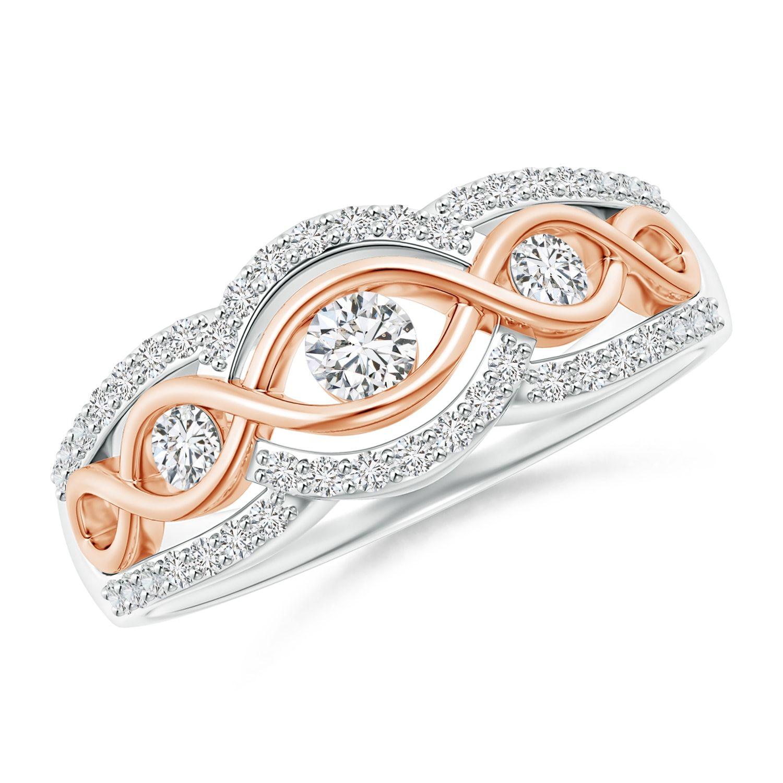 3 Stone Diamond Criss Cross Infinity Ring in Two Tone