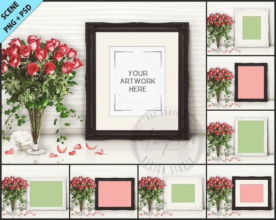 Frame on White Table with Red Roses Styling 8 PNG scene Empty