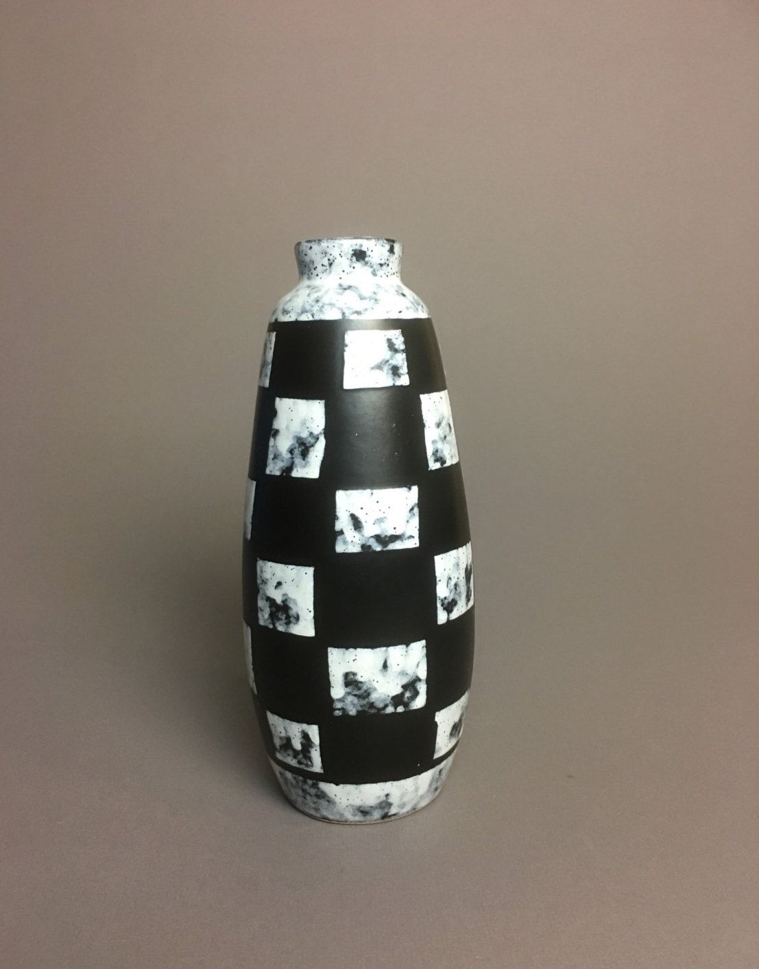 Black And White Checkered Tall Vase Mid Century Modern East Germany By Anaforia On Etsy