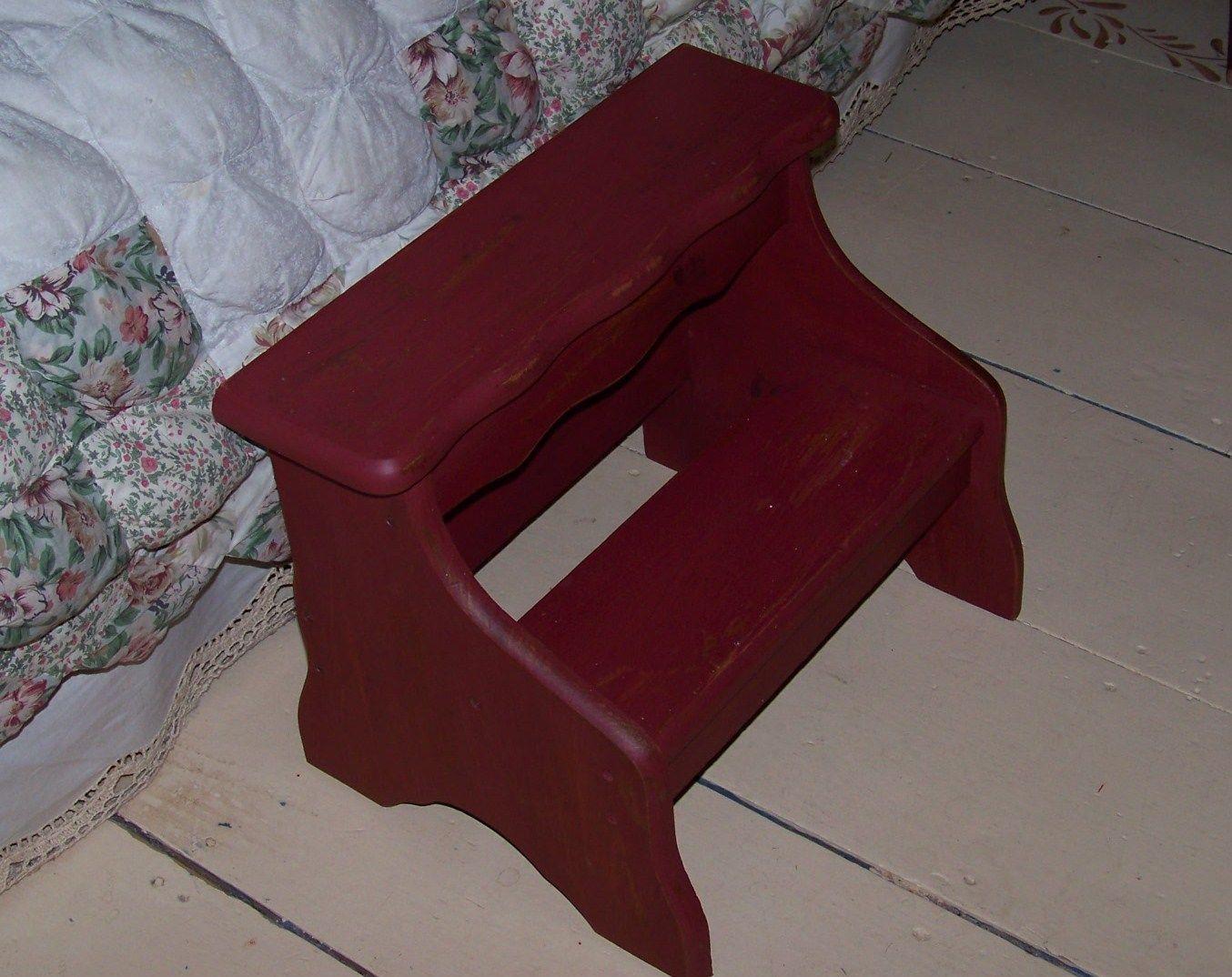Primitive Vintage Painted Wood Bed Steps Stairs Stool Ebay