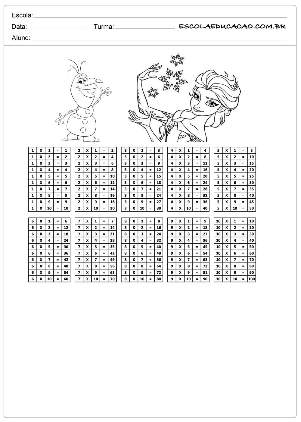 Atividade De Tabuada Para Imprimir Multiplicacao Da Frozen