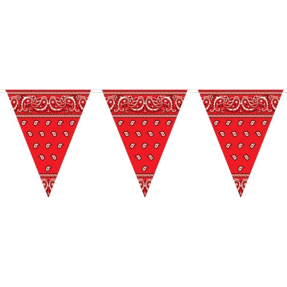 Red Bandana Pennant Banner Hanging Decor Western Paisley Birthday Party Event