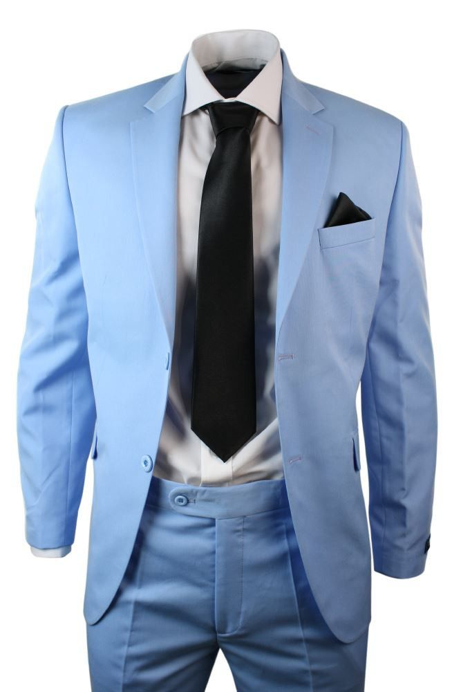 Mens Blue Suit Blazer Trouser Black Tie & Hankie Party Wedding Prom ...