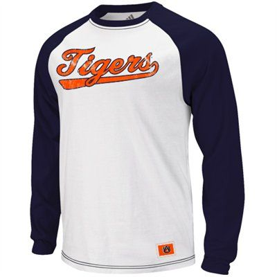 Adidas Auburn Tigers Tailspin Raglan T Shirt White Navy