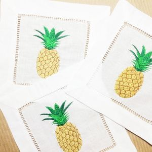 Updating our classic pineapple cocktail napkins in fresh new hues! A  classic symbol of hospitality with a dash of luxe! 6 x 6 inch embroidered  cocktail ...