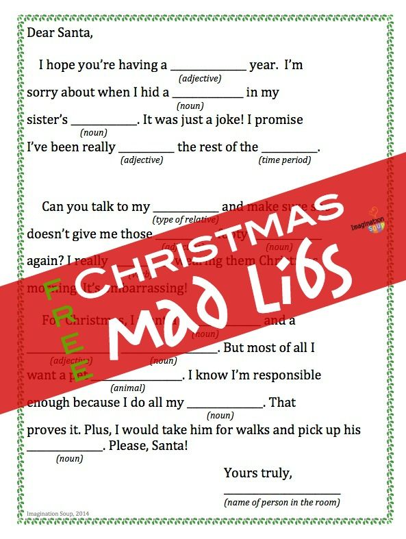 This is an image of Printable Christmas Mad Libs with end year