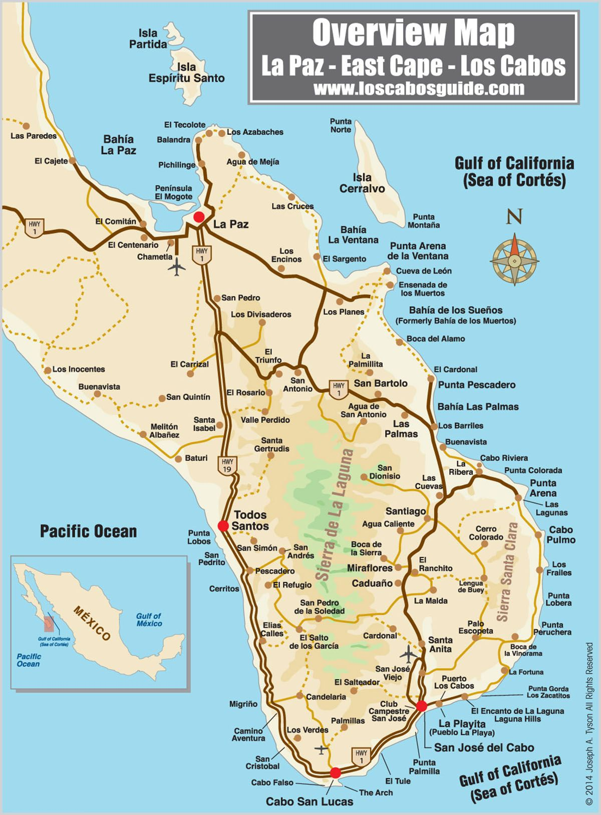 Overview Map La Paz East Cape Los Cabos Los Cabos Guide cabo