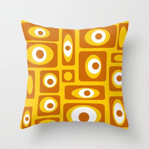 Mod Yellow Throw Pillow Modern Pillow Mid Century Modern Pillow Retro Yellow Throw Pillow Mod Throw Pillows Mid Century Modern Pillows Yellow Throw Pillows
