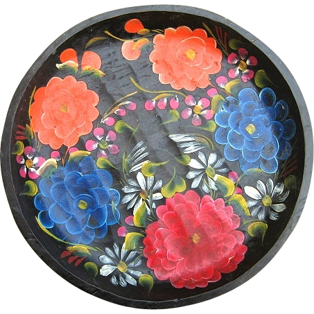 "Vintage Mexican Folk Art Batea Floral Tole Wood Bowl 12.25"""