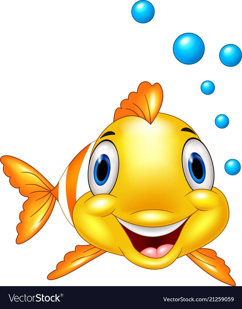 Adorable Clown Fish With Water Bubbles Royalty Free Vector Clown Fish Cartoon Cartoon Fish Art Drawings For Kids