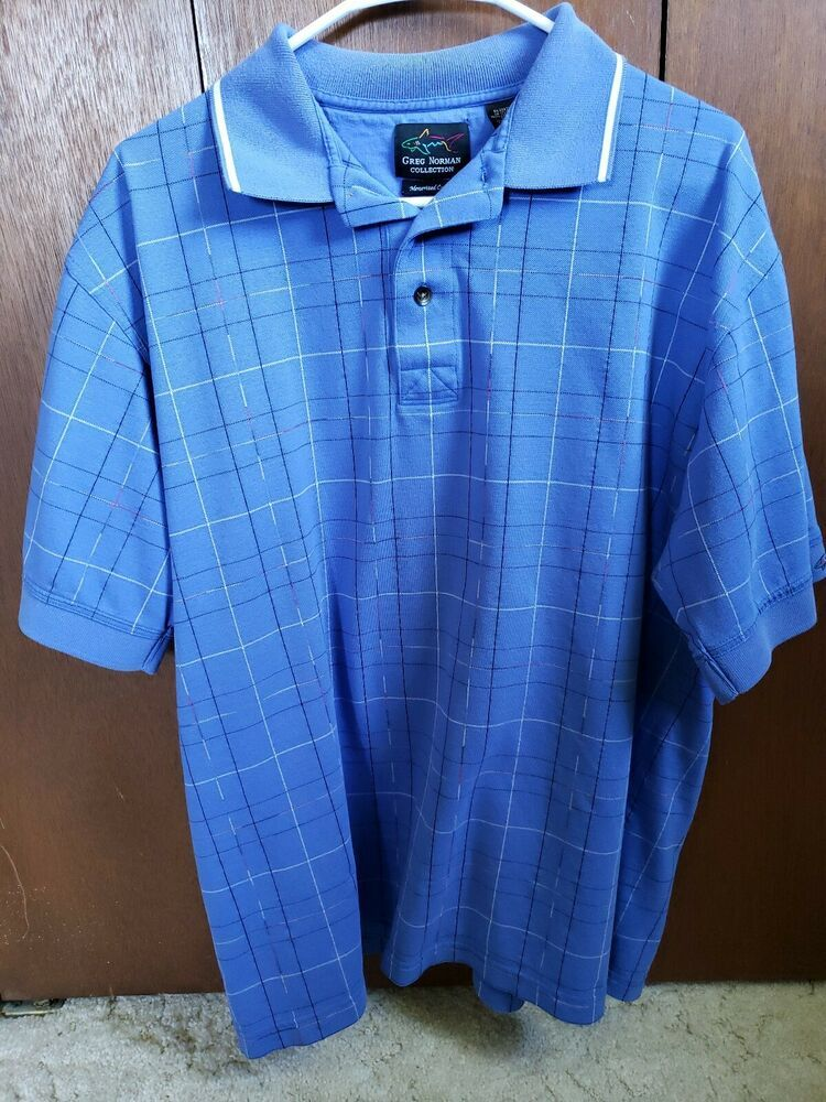 95e575a108dd Vtg 90's GREG NORMAN 'Shark' logo Polo Shirt Large (L) Periwinkle Blue