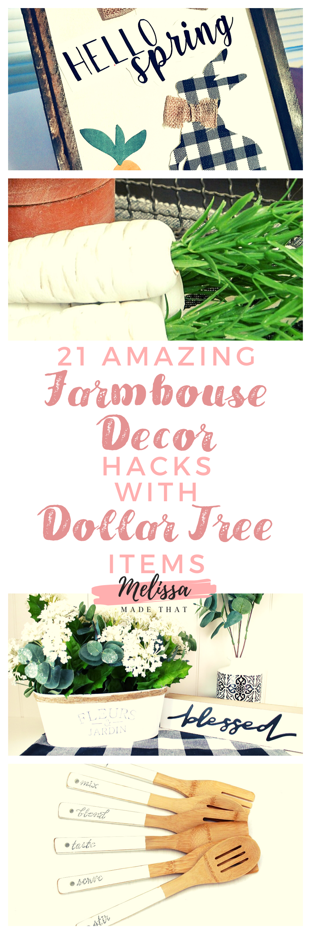 Easy DIY projects using supplies from the Dollar Tree to create on-point farmhouse decor looks. Using Dollar Tree supplies, you can create the farmhouse of your dreams using the tutorials in this post. The farmhouse trend is a big deal right now, and with these ideas, you can make your own farmhouse decorations for your home. #diydecor #farmhousedecor #cheapfarmhousedecor #farmhouse #homedecor