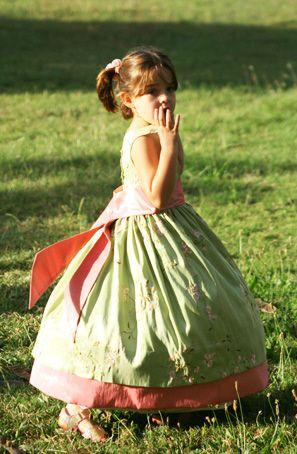 Green Anais - Bespoke flower girl dresses - Little Eglantine