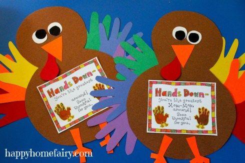 Thankful Handprint Turkey Craft - FREE Printable #handprintturkey
