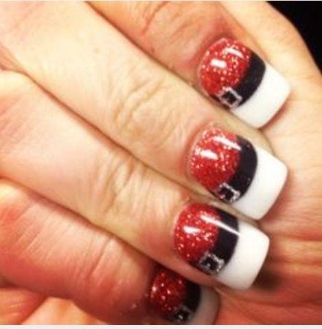 Santa Hat Nails Christmas Nails Acrylic Christmas Nail Art Designs Xmas Nails