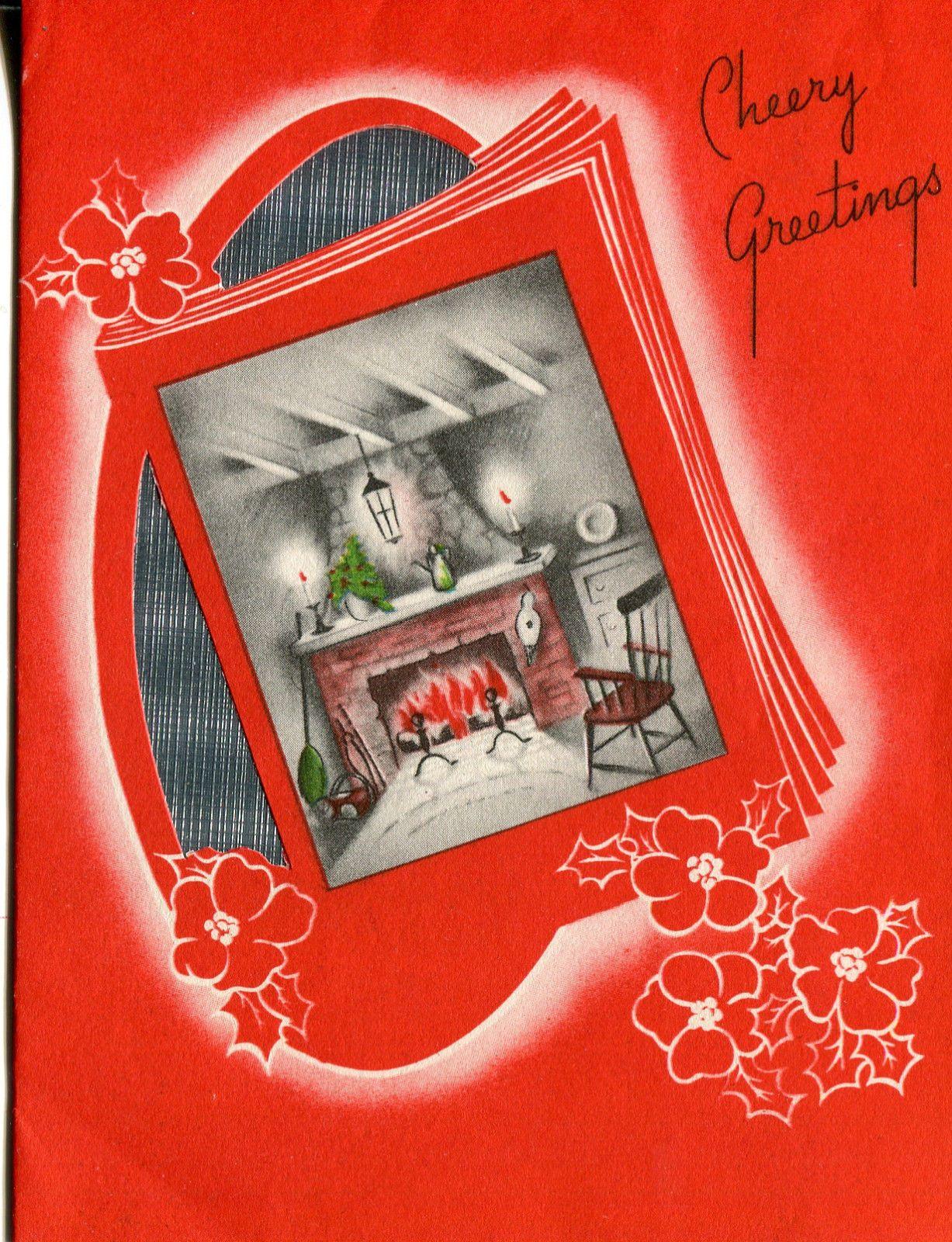 Vintage Art Deco Christmas Card Fireplace Scene with Foil Insert   eBay