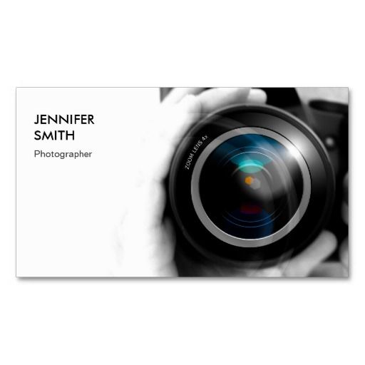 Simply Black and White Photographer Camera Lens Business Cards