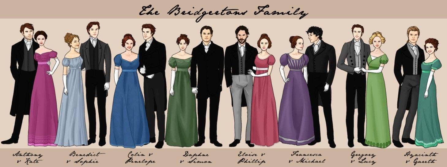 Julia Quinn's Bridgerton Family | Personagens de livros, Personagens  literários, Romance de época