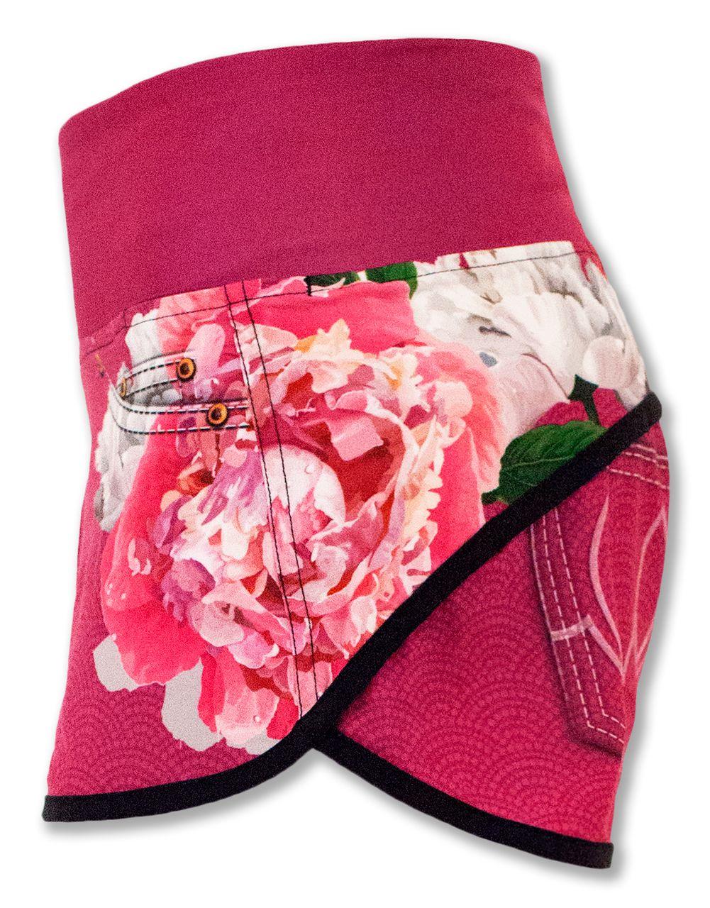 02a9e14a64315 INKnBURN Pink Flora Shorts Left Side Waistband Up