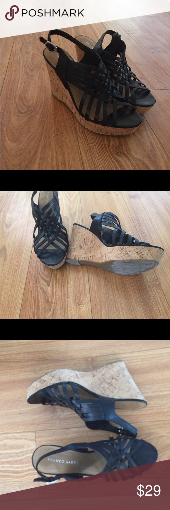 Franco Sarto black platform sandals Super comfy. In excellent condition. A bit of scuffing on soles from being worn a few times but otherwise in pristine condition. Franco Sarto Shoes Platforms