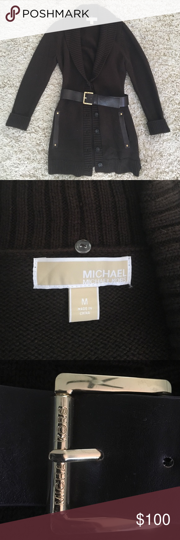 MK cardigan sweater Never worn! Cardigan with detachable belt Michael Kors Sweaters Cardigans