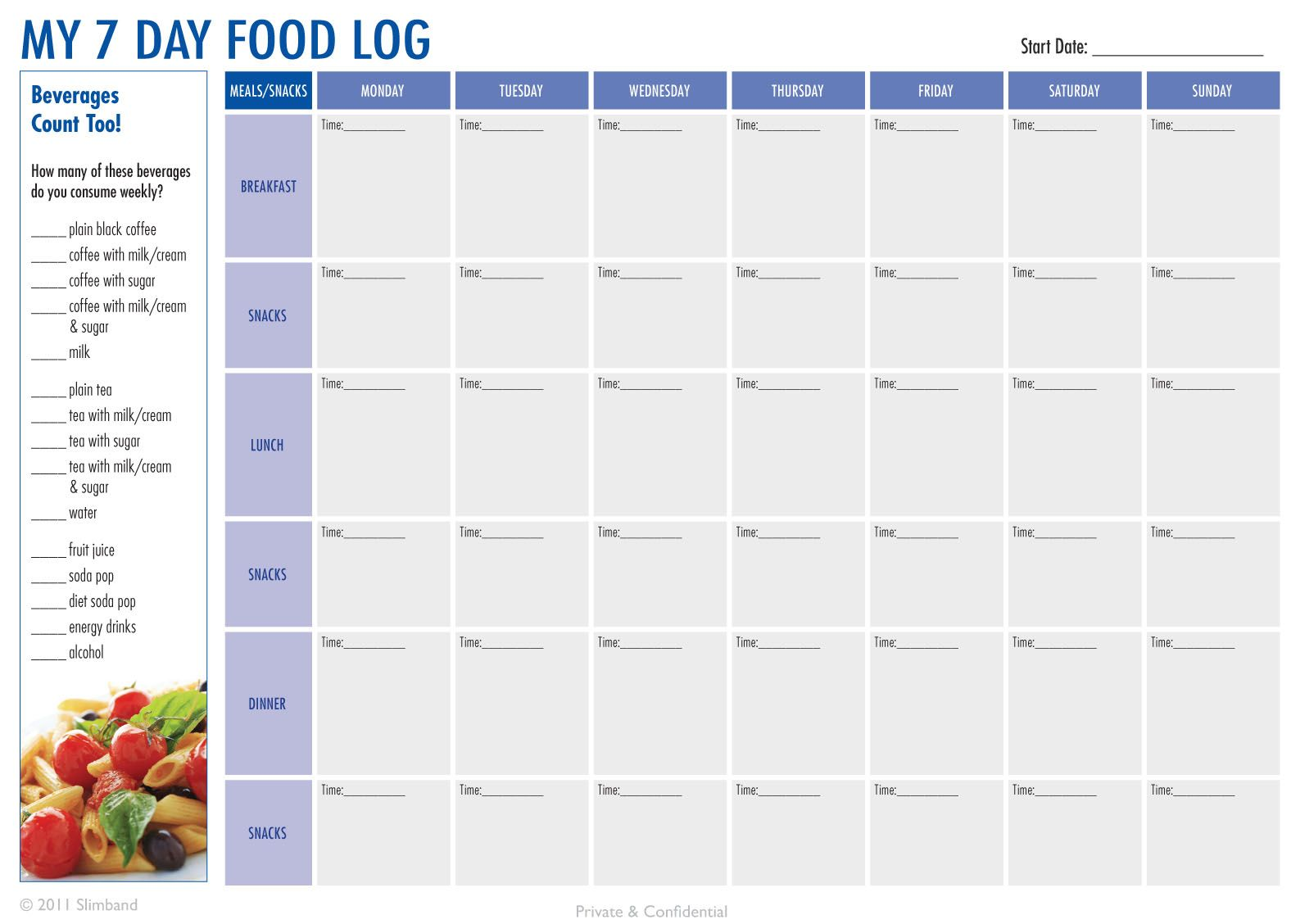 Create A  Day Food Log Download The Pdf At HttpSlimbandCom