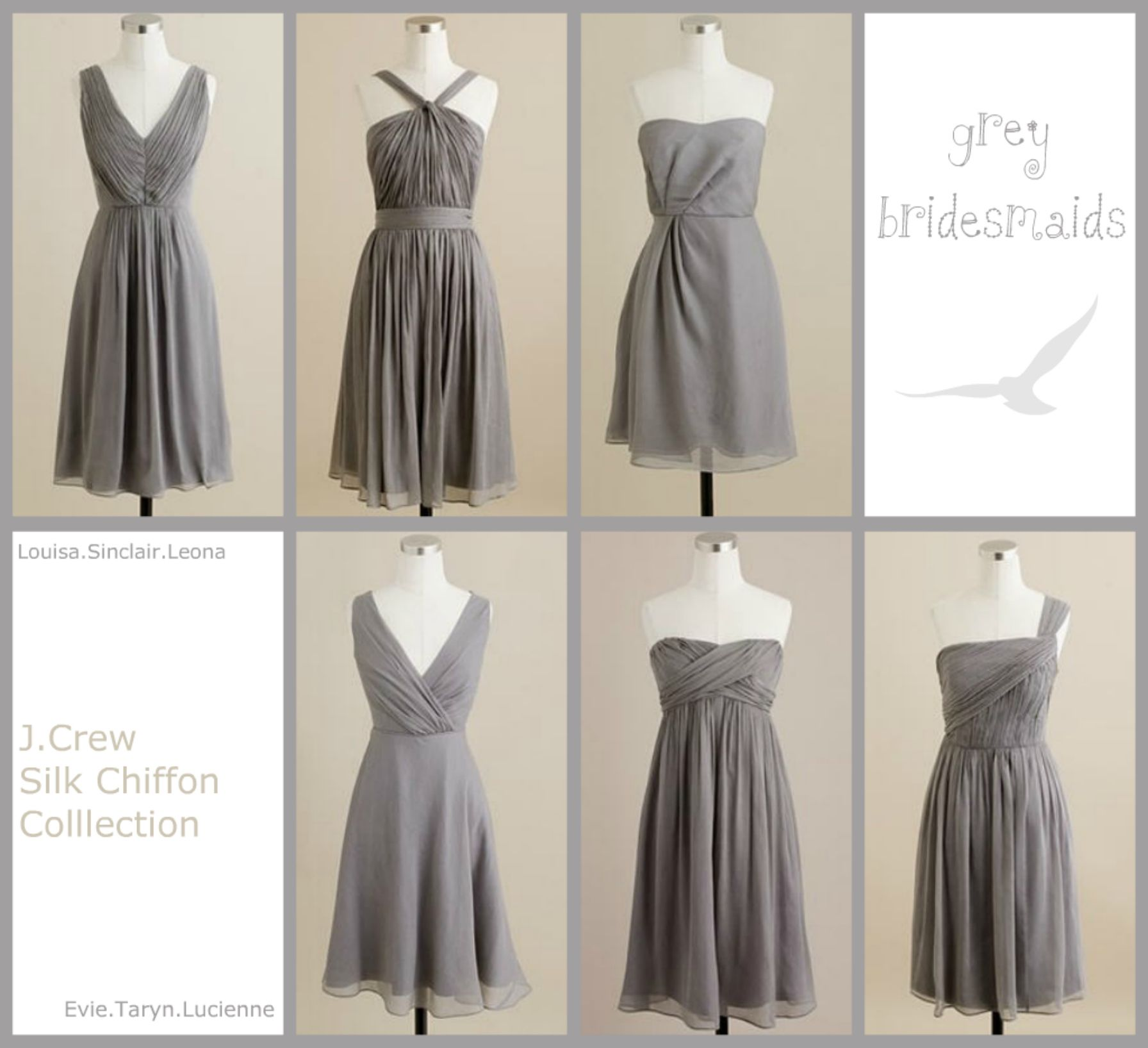 Not your carbon copy bridesmaids grey bridesmaid dresses gray chiffon bridesmaid dresses ombrellifo Gallery