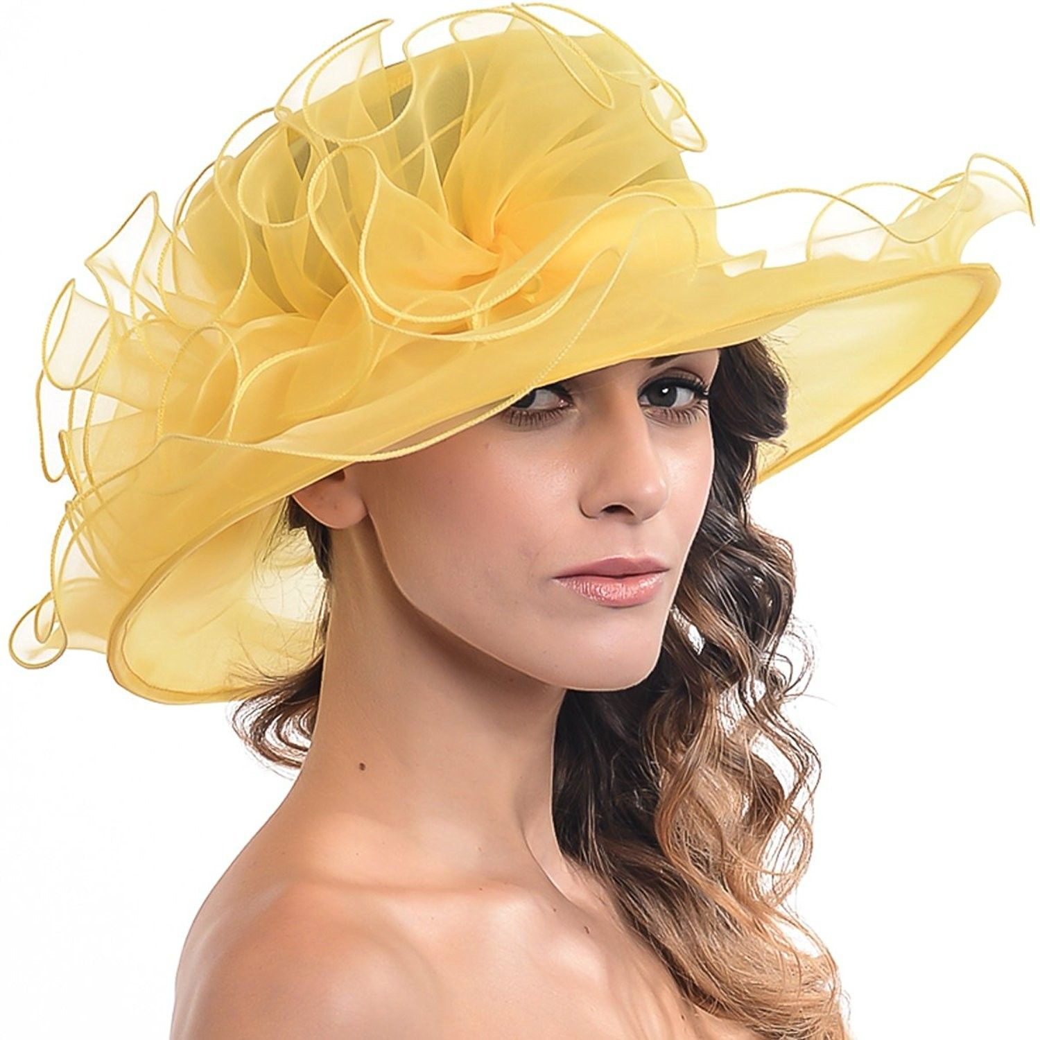 d76bcbe6493 Women Sheer Kentucky Derby Church Wide Brim Hat with Large Flower S019B -  Yellow - CB12E24GBNV - Hats   Caps