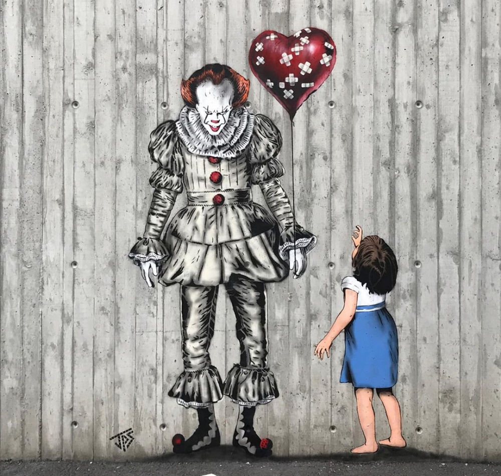 Artist Jamie Paul Scanlon Creates Stunning Street Art Inpired By Pop Characters And Horrror Movies Street Art Art Amazing Street Art