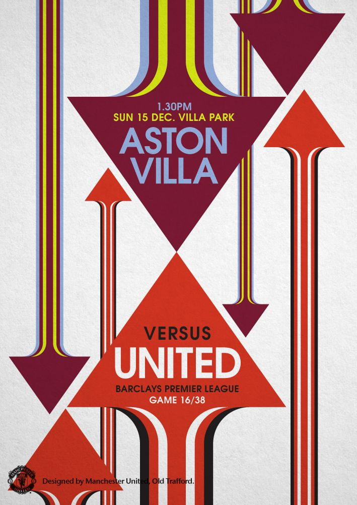 Match Poster Aston Villa Vs Manchester United 15 December 2013 Designed By Manutd Manchester United The Unit Manchester United Old Trafford