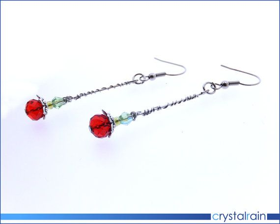 Two Roses wire wrapped Earrings by CrystalRainDesign #crystalraindesign #roses #love #valentine