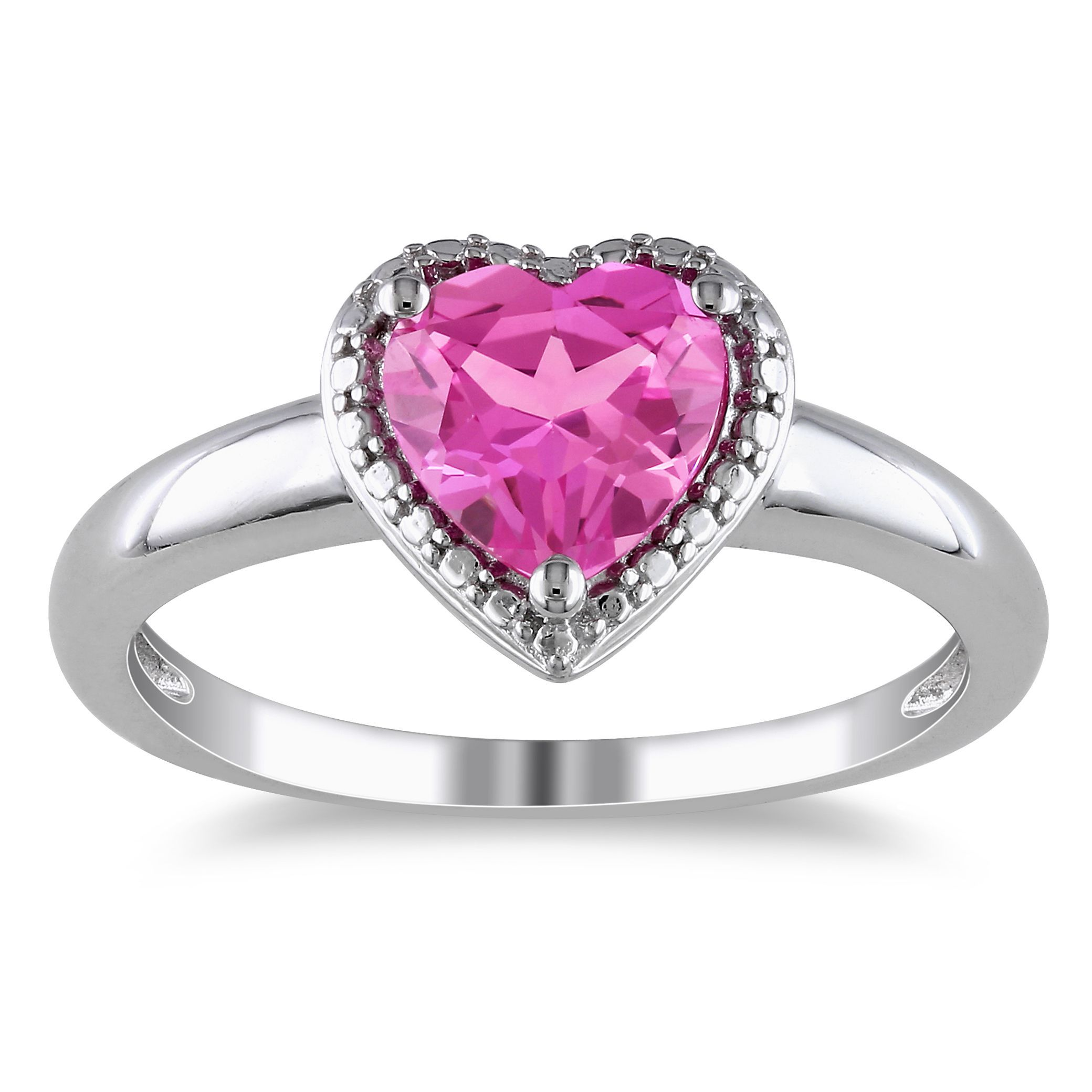 Miadora Sterling Silver Created Pink Sapphire Heart Ring (Size 8.5 ...