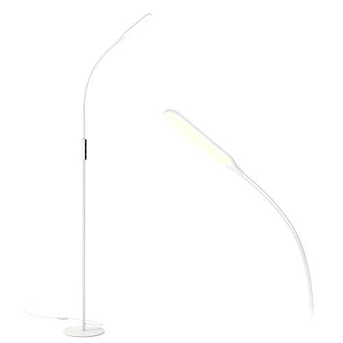 White Led Floor Lamp 5 Brightness Levels 3 Colors Gladle Bright