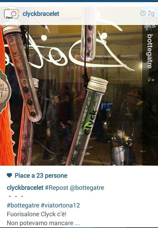 """Clyck in vetrina  """" BOTREGATRE"""" VIA TORTONA 12 MILANO"""