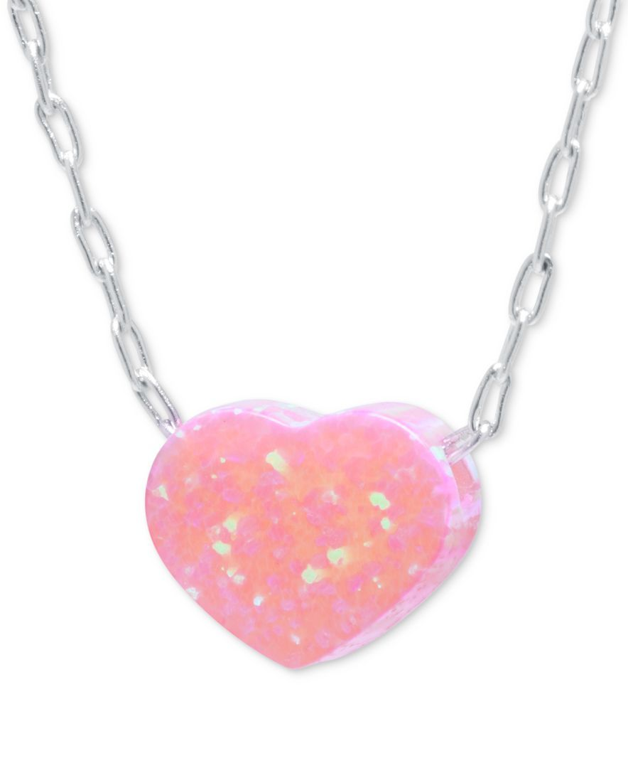 Iridescent pink heart pendant necklace in sterling silver products