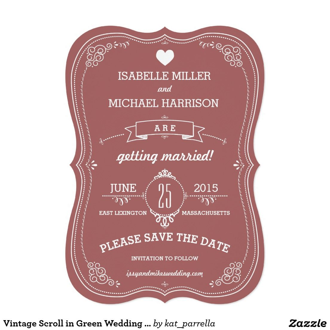 Vintage Scroll in Green Wedding Save the Date 5x7 Paper Invitation Card