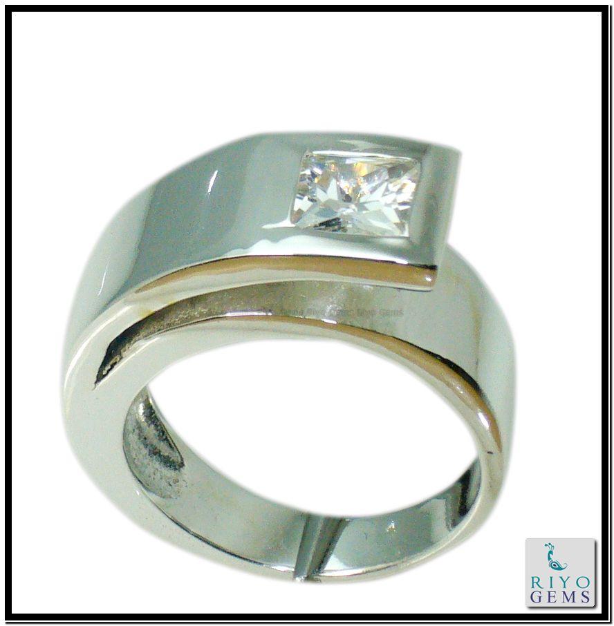 Cubic Zircon silver Ring Gemstone Jewelry 925 Sterling Silver Jewelry by Riyo Gems Handmade Jewellery http://www.riyogems.com