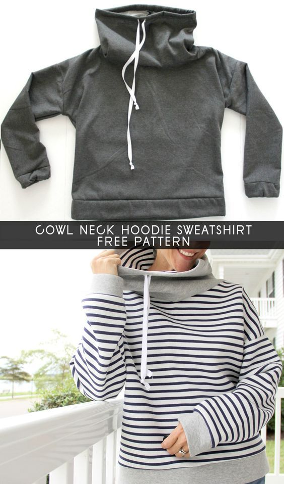 Women\'s Cowl Neck Sweatshirt - Free Pattern | DIY sewing | Pinterest ...