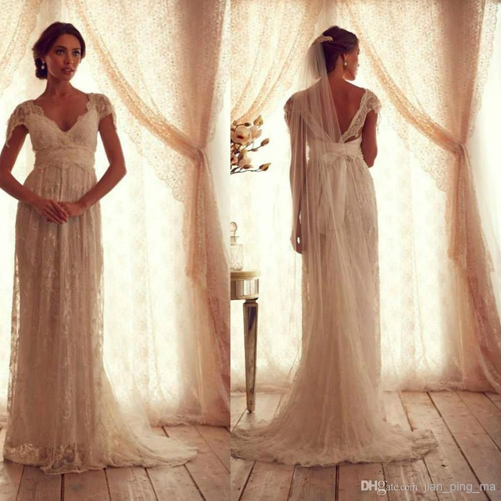Vintage Wedding Dresses Sheer Strap Wedding Gown Cap Sleeve Shher ...