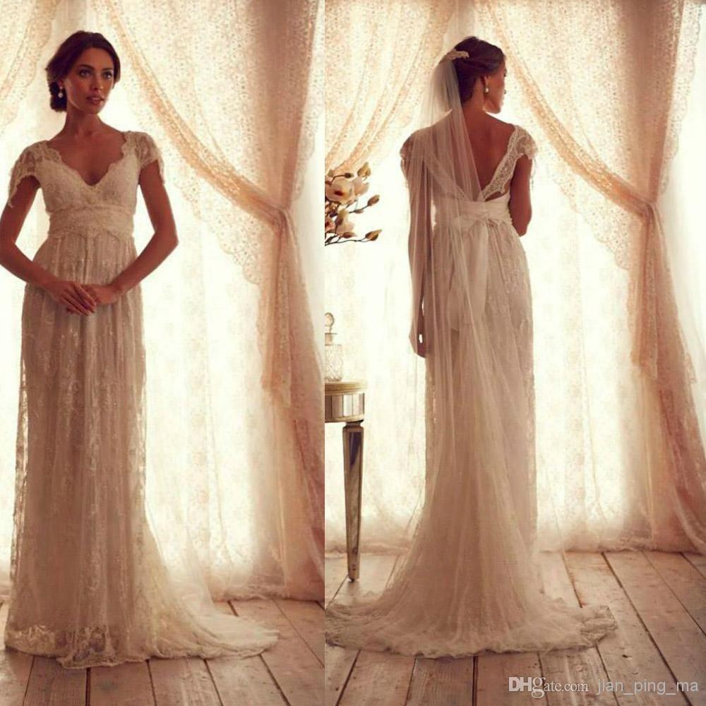 Wholesale Vintage Wedding Dresses - Buy Vintage Wedding Dresses Sheer Strap Wedding Gown Cap Sleeve Shher Neck Floor Lengt with Sweep Train ...
