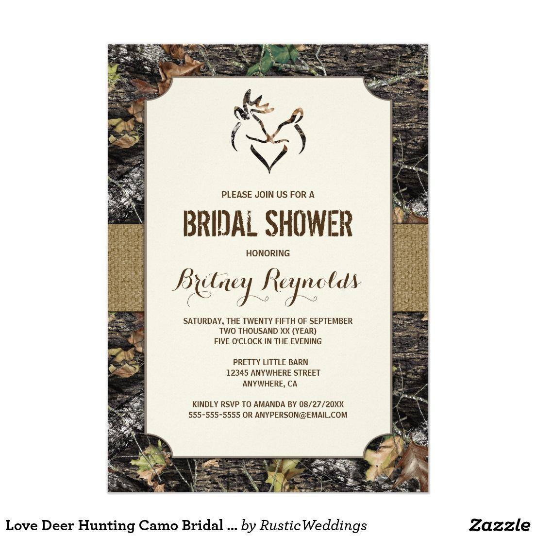 Love Deer Hunting Camo Bridal Shower Invitations | Jamie and Sam\'s ...