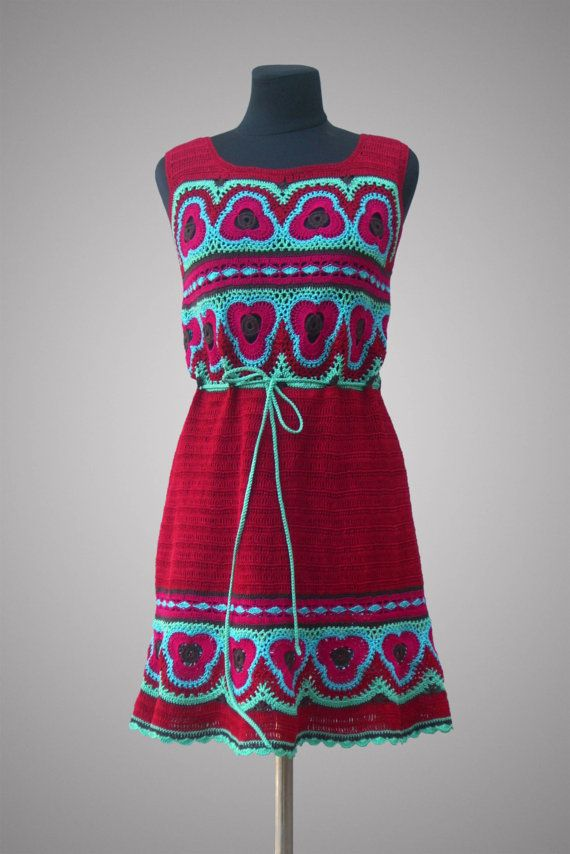 Crochet dress Bora-Bora. Poppy red casual cotton by TsarevaCrochet